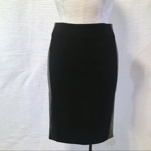 Balenciaga Leather Wool Stretch Pencil Midi Skirt